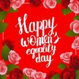 Carte postale de jour de l'égalité des femmes heureuses avec le lettrage Images stock