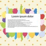 Carte postale de joyeux anniversaire avec des ballons Illustration de vecteur pour y Photographie stock