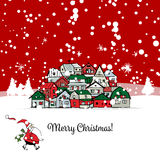 Carte postale de Joyeux Noël avec le fond de paysage urbain illustration stock