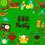 Carte postale de lettrage de partie de BBQ Images stock