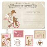 Carte postale de mariage et timbres-poste - pour la conception l'épousant illustration de vecteur