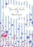 Carte postale de nature avec un fond rayé et des nuages Cliparts d'été pour épouser la conception, création artistique illustration de vecteur