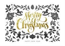 Carte postale de Noël avec des éléments de Noël de feuille d'or Photographie stock libre de droits