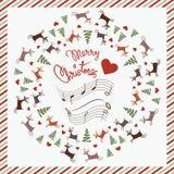 Carte postale de Noël avec des cerfs communs de danse Images libres de droits