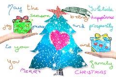 Carte postale de Noël avec le message d'écriture Photographie stock libre de droits