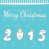 Carte postale de nouvelle année de vacances avec les chiffres blancs 2015 Photo libre de droits