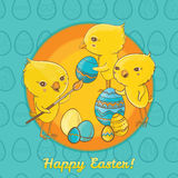 Carte postale de Pâques avec les poussins mignons Photos libres de droits