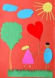 Carte postale de papier fabriqué à la main de St Valentine Photographie stock libre de droits