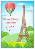 Carte postale de Paris Photographie stock