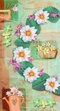 Carte postale de pays d'élégance avec de belles fleurs de gerbera et boîte d'arrosage roses Modèle floral d'amour Images libres de droits