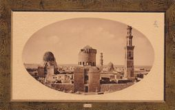 Carte postale de photo de l'horizon du Caire, les années 1900 de l'Egypte photographie stock