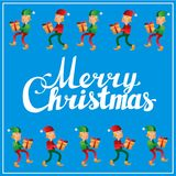 Carte postale de place de calligraphie de lettrage de main de Joyeux Noël Photographie stock