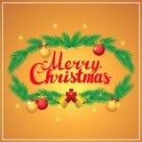 Carte postale de place de calligraphie de lettrage de main de Joyeux Noël Images libres de droits