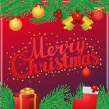 Carte postale de place de calligraphie de lettrage de main de Joyeux Noël Photographie stock libre de droits