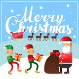 Carte postale de place de lettrage de main de Joyeux Noël Photo libre de droits