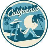 Carte postale de plage de la Californie illustration stock