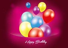 Carte postale de rouge de joyeux anniversaire illustration stock