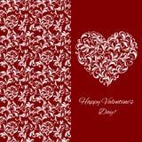 Carte postale de salutation élégante pour la Saint-Valentin Coeur d'ornement floral illustration de vecteur