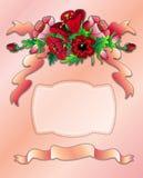 Carte postale de salutation avec les pavots rouges Image libre de droits