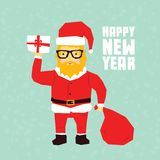 Carte postale de Santa de hippie de bonne année Photographie stock