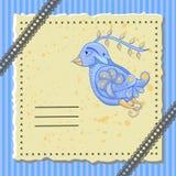 Carte postale de vacances avec un oiseau fabuleux Photo stock