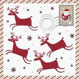 Carte postale de vacances d'hiver avec quatre cerfs communs Photos libres de droits