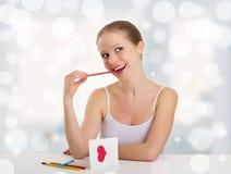 Carte postale de valentine signée belle par fille Images stock