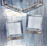 Carte postale de vintage avec des glissières sur le fond de jeans Image stock