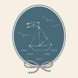 Carte postale de vintage avec le bateau, la mer et les mouettes Thème marin et nautique Illustration de vecteur illustration libre de droits