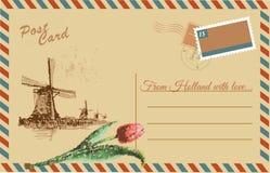 Carte postale de vintage avec le moulin à vent néerlandais illustration de vecteur