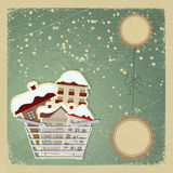 Carte postale de vintage avec un panier pour l'achat Photo libre de droits