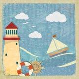 Carte postale de vintage avec un yacht, un phare et la roue Photos stock