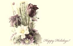 Carte postale de vintage avec une composition florale Photos stock