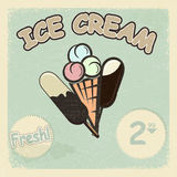 Carte postale de vintage avec une photo de crème glacée  Photos stock