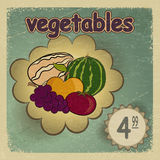 Carte postale de vintage avec une photo des légumes mûrs - pomme Photo libre de droits