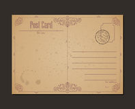 Carte postale de vintage et timbre-poste Conception Photographie stock