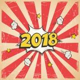 Carte postale de vintage de la nouvelle année 2018 ou calibre de carte de voeux Conception de nouvelle année du vecteur 2018 rétr Photos libres de droits