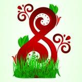 Carte postale depuis le 8 mars Avec le rouge huit ornementez sous forme d'herbe verte et de feuilles sur un fond vert clair Photo libre de droits