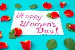 Carte postale depuis le 8 mars Concept de jour heureux du ` s de femmes Photo stock