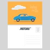 Carte postale du Cuba avec l'illustration américaine classique de vecteur de voiture illustration libre de droits