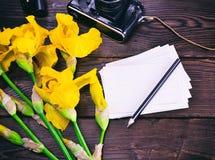 Carte postale et bouquet de papier des iris jaunes Photo libre de droits