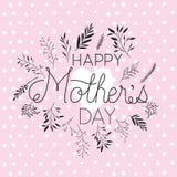 Carte postale faite main heureuse de police de jour de mères Photographie stock libre de droits