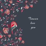 Carte postale florale de griffonnage Photos libres de droits