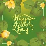 Carte postale handlettering de calligraphie heureuse de journée de l'arbre Photographie stock libre de droits