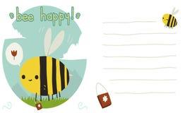 Carte postale heureuse d'abeille illustration de vecteur