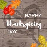 Carte postale heureuse de jour de thanksgiving sur la texture en bois illustration libre de droits