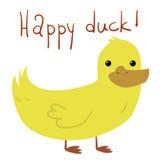 Carte postale heureuse plate de canard de bande dessinée de vecteur illustration stock