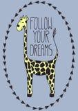 Carte postale mignonne avec la girafe de bande dessinée Image stock