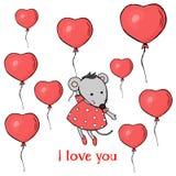 Carte postale mignonne avec une souris et des ballons sous forme de coeur Vol de souris dans un ballon Illustration colorée de ve photo libre de droits