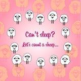 Carte postale mignonne de moutons pour chaque jour Image libre de droits
